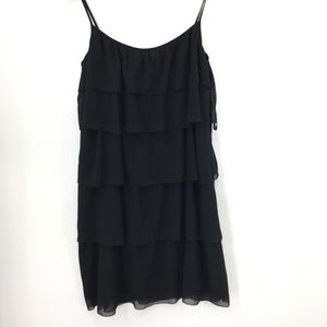 LOFT Ann Taylor black ruffle dress